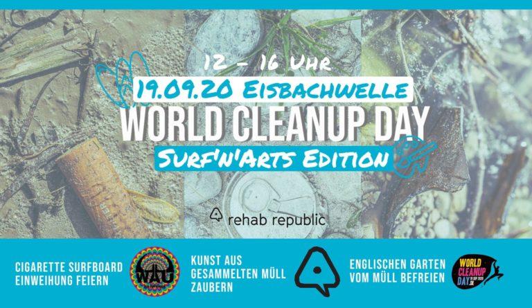 München Eisbachwelle Bayern World Cleanup Day