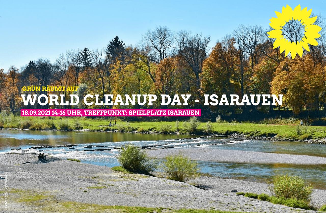 Grün räumt auf. Cleanup in den Isarauen, München (Bayern)